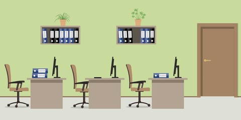 Office room in a green color. There are tables, chairs, computers, folders and other objects in the picture. Vector flat illustration