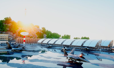 f 22 raptor, military fighter jet. military base. sunset. 3d rendering.
