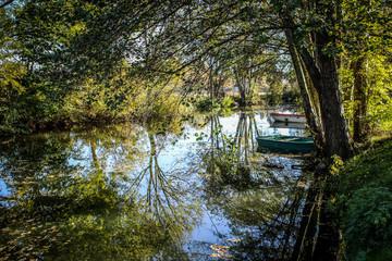 Rivière, barques et arbres à l'automne