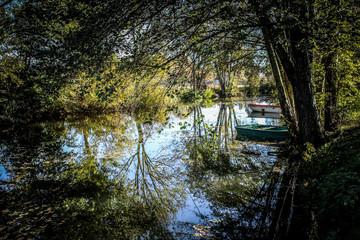 Rivière, barques et arbres à la lumière de l'automne
