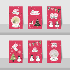 Set of Christmas small cards, greeting text with snowman, snowflakes, Christmas tree, snow globe and triangle flags in pink, green, grey, and white colors with pink background colors...