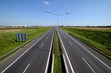 Highway A4 near Gliwice in Poland