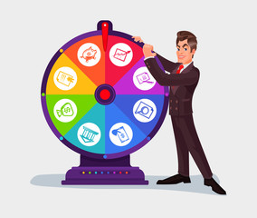 Business man spinning the wheel of fortune