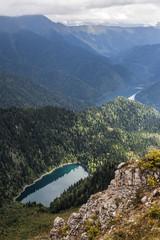 Alpine lakes Little Ritsa and Big Ritsa in the Republic of Abkhazia in the Caucasus mountains