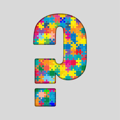 Color Puzzle - Question Mark. Gigsaw, Piece.