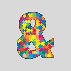 Color Puzzle - Ampersand Mark. Gigsaw, Piece.