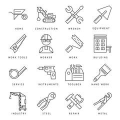 Monochrome Construction Icons Set