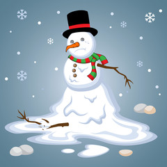 Melting snowman winter blues away cute winter wallpaper. Sad, cry, alone snowman Vector Illustration