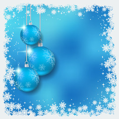 Christmas and New Year blue blurred vector background with luxury balls