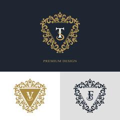 Monogram design elements, graceful template. Calligraphic elegant line art logo design. Letter emblem sign T, V, F for Royalty, business card, Boutique, Hotel, Heraldic, Jewelry. Vector illustration