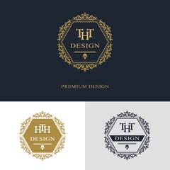 Monogram design elements, graceful template. Calligraphic elegant line art logo design. Letter emblem sign THT, HTH for Royalty, business card, Boutique, Hotel, Heraldic, Jewelry. Vector illustration