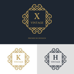Monogram design elements, graceful template. Calligraphic elegant line art logo design. Letter emblem sign X, K, H for Royalty, business card, Boutique, Hotel, Heraldic, Jewelry. Vector illustration