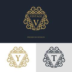 Monogram design elements, graceful template. Calligraphic elegant line art logo design. Letter emblem sign V, Y, T for Royalty, business card, Boutique, Hotel, Heraldic, Jewelry. Vector illustration