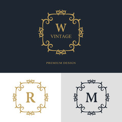 Monogram design elements, graceful template. Calligraphic elegant line art logo design. Letter emblem sign W, R, M for Royalty, business card, Boutique, Hotel, Heraldic, Jewelry. Vector illustration