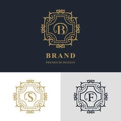 Monogram design elements, graceful template. Calligraphic elegant line art logo design. Letter emblem sign B, S, F for Royalty, business card, Boutique, Hotel, Heraldic, Jewelry. Vector illustration