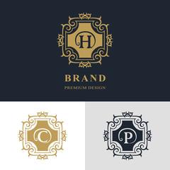 Monogram design elements, graceful template. Calligraphic elegant line art logo design. Letter emblem sign H, C, P for Royalty, business card, Boutique, Hotel, Heraldic, Jewelry. Vector illustration