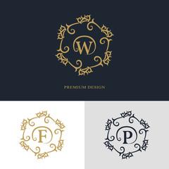 Monogram design elements, graceful template. Calligraphic elegant line art logo design. Letter emblem sign W, F, P for Royalty, business card, Boutique, Hotel, Heraldic, Jewelry. Vector illustration