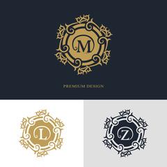 Monogram design elements, graceful template. Calligraphic elegant line art logo design. Letter emblem sign M, L, Z for Royalty, business card, Boutique, Hotel, Heraldic, Jewelry. Vector illustration