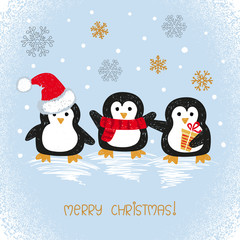 Merry Christmas card design with cute doodle penguins. Vector holiday illustration.