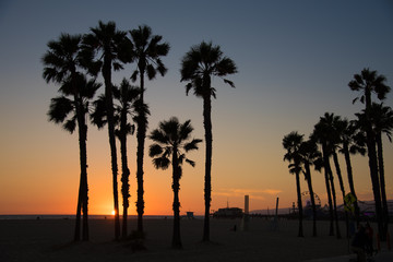 Silhouette of Santa Monica beach at sunset