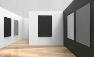 Art Gallery Studio and picture frame contemporary  Wall black And white modern realistic exhibition