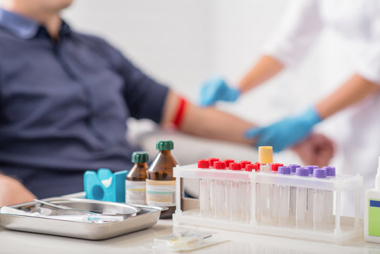 Man getting blood test preparation in clinic
