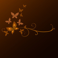 background with butterflies, vector