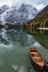 Autumn to Winter transmission at Lago di Braies, Italy
