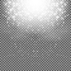 Falling Shining Snowflakes and Snow on Transparent Background. C