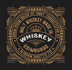 Old  label design for Whiskey and Wine label, Restaurant banner,