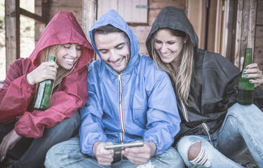 Friends spending time during a rainy day
