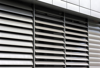 metallic  window shutter at the  office building