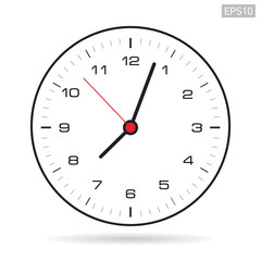 Clock icon in minimalism style, black timer on white background. Vector design element