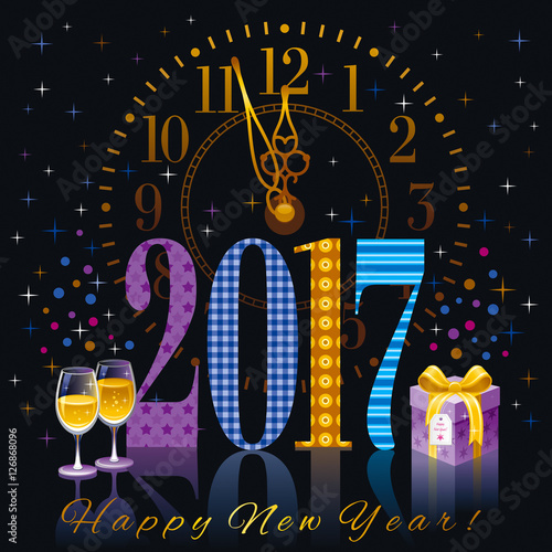 new year 2017 poster template design vector illustration sparkling champagne wine glasses clock