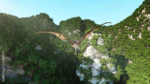 pterodactyl on rocky cliffs. prehistoric nature, dinosaurus. 3d rendering.