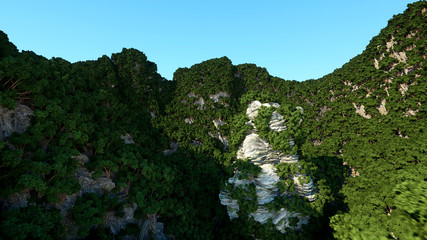 Mountain Cliffs with trees. Fantasy landscape. 3d rendering.
