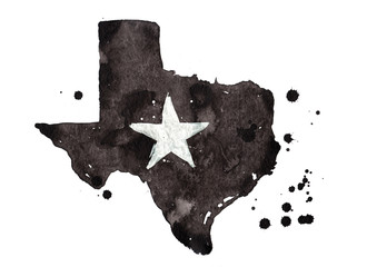 Texas grunge map with star. Retro distressed illustration with state map. Fototapete