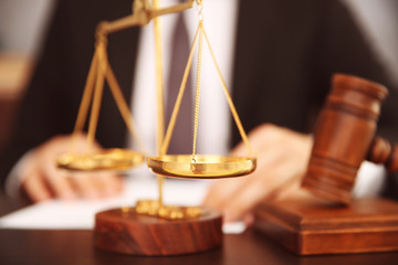 Court scales on table, closeup