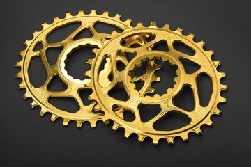 Golden oval bicycle chainring at grey background