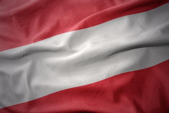 waving colorful flag of austria.