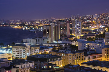 Beatiful night aerial view of Valparaiso in Chile