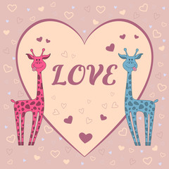 "Funny  vector card with two giraffes on pink background with hearts and text ""love"". Happy valentine's day card"