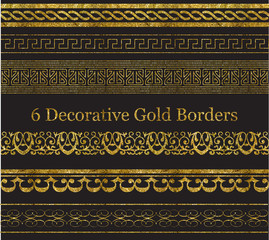 6 Decorative Gold Borders