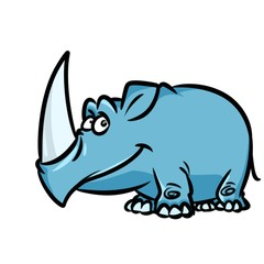 Rhinoceros cartoon illustration isolated image character