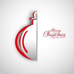 Merry Christmas papercut Ball on white background, vector greeti