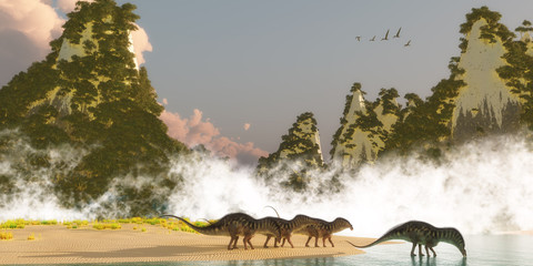 Amargasaurus Dinosaurs -A herd of Amargasaurus dinosaurs come down to a lake to drink in the morning as a flock of Zhenyuanopterus Pterosaur reptiles fly over nearby mountains.