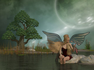 Fairy Daina by Pond - A woodland fairy plays with her pet dragon in a magic ball while sitting by a marsh pond.