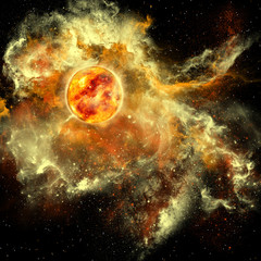 Sun Evolution - A sun gathers surrounding matter and plasma to become a larger and larger sphere in the universe.