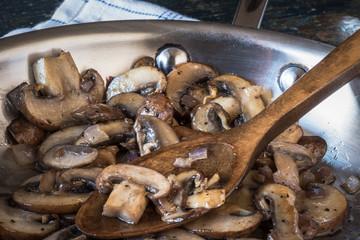 Portobello Mushrooms in pan