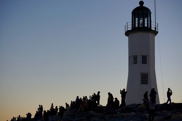 Photographers taking photos of the super moon at Scituate Lighthouse